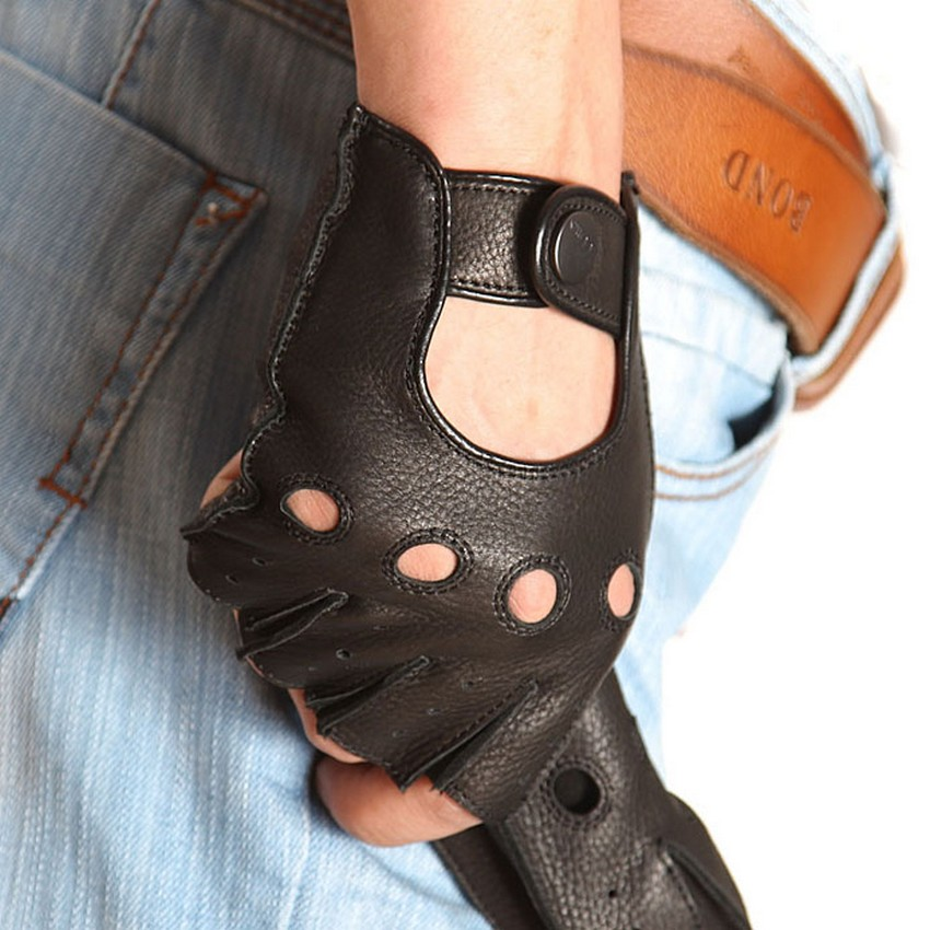 Men Genuine Leather Half Finger Gloves 2019 NEW Semi-Finger Breathable Male Deerskin Glove Wrist Buttons Driving EM001W