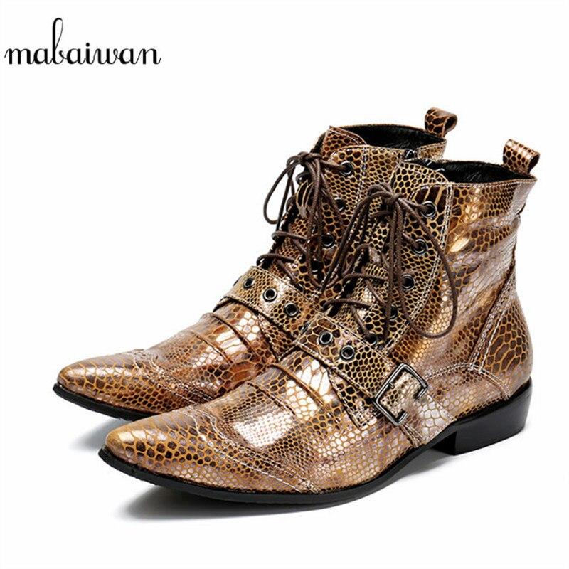 Mabaiwan cuir hommes chaussures bottines pantoufle bout pointu chaussures à lacets hommes militaires Cowboy bottes sangle Cool côté Zip appartements