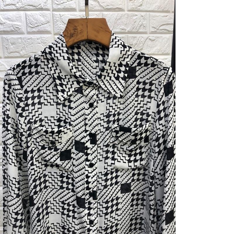 Col down 2019 Turn De Chic 100 Shirt Mode Casual Nouveau Poche Soie Femme Shirts Imprimer Buste Chemisier Été Style Printemps Patchwork AxqOBgw