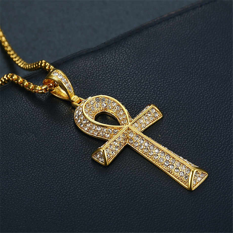 Hip Hop Iced Out Bling Ankh krzyż wisiorek naszyjnik dla kobiet/mężczyzn złoty kolor ze stali nierdzewnej dżetów naszyjnik egipt biżuteria
