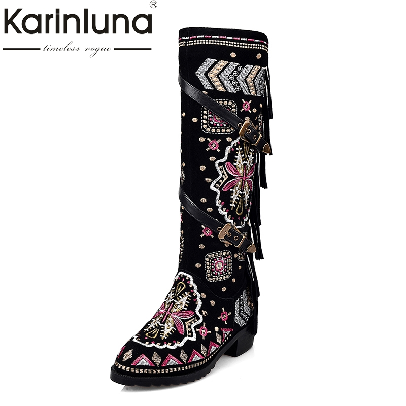 KAIRNLUNA Top Quality Large Size 33-43 Winter Boots Ethnic Style Embroidery Cow Suede Genuine Leather Woman Shoes Fringe Buckles fringe sleeve top