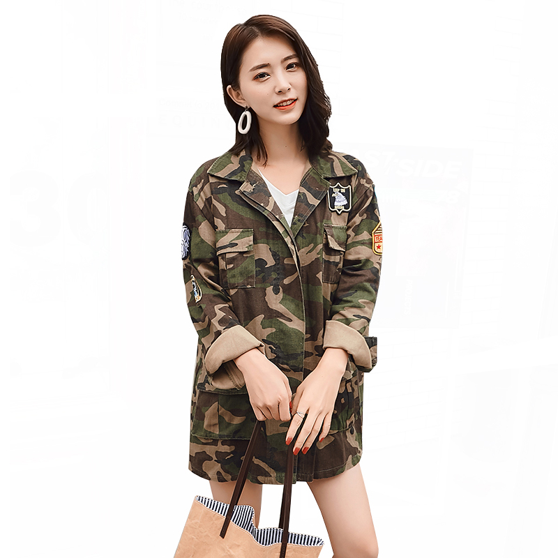 Basic Jackets For Women Military Camouflage Coat 2019 Spring Fashion Embroidery Jacket Female Loose Denim Windbreaker Jacket