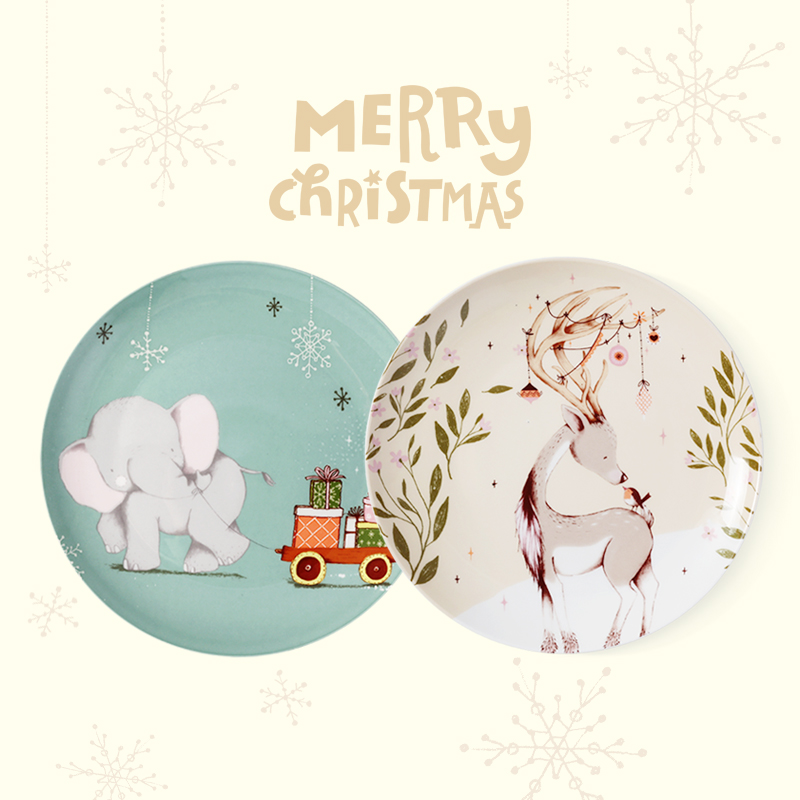 merry christmas gift box 8 inch ceramic plates high quality bone China in glazed decoration round dishes and plates 2 plate set