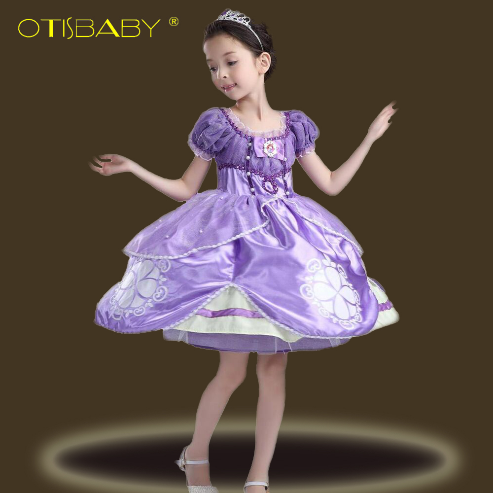 ef34c564c79b2 US $14.57 16% OFF|Hot Sall Girls Sofia Princess Dress Kids Sophia Sleeping  Beauty Party Dresses Child Girl Rapunzel Aurora Prom Purple Costume 10-in  ...