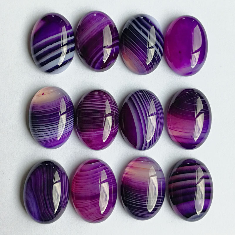 Natural stone bead fashion charm purple Striped Onyx for jewelry making 13X18MM cab cabochon oval Ring accessories 20Pcs/lot