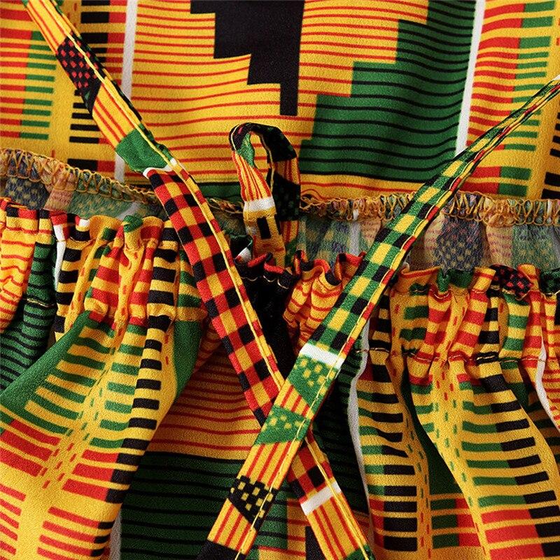 Toddler Baby Girls African Print Off Shoulder Hair Band Princess Casual Dress vestido robe fille  #4j12 (22)