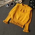 winter knitted sweater girl 2017new winter wool girl pullover sweater solid ruffles plus velet girls sweater girls clothes 2-5T