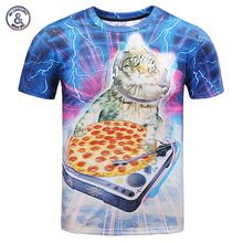2017 Mr.1991INC Hip Hop road put on T-shirt males/girls 3d t shirt print lighting DJ cat consuming pizza summer time tops tees cool tshirt