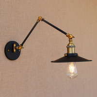 Vintage Iron Black Adjustable Head Swing Arm Wall Lamp E27 Lights Modern For Dining Room Living