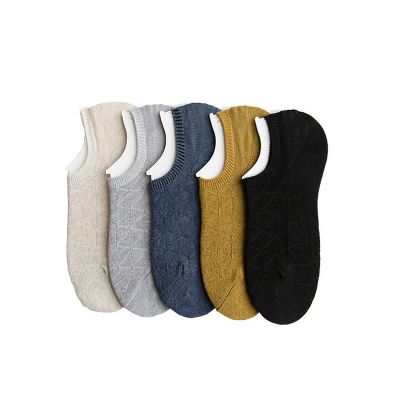 Summer Socks New Cotton Ladies Invisible Socks Solid Color Plaid Breathable Boat Socks Non Slip Anti Root Base Female Socks in Socks from Underwear Sleepwears