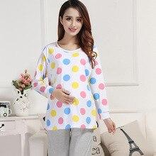 Весна осень пижамы для беременных, кормящих грудью XLSoft Удобная Пижама для кормления грудью Пижама для беременных ночная рубашка Европейский комплект из 2 предметов