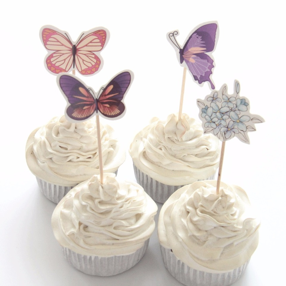 Wondrous 24Pcs Lot Butterfly Flower Cupcake Toppers Birthday Cakes Topper Funny Birthday Cards Online Overcheapnameinfo