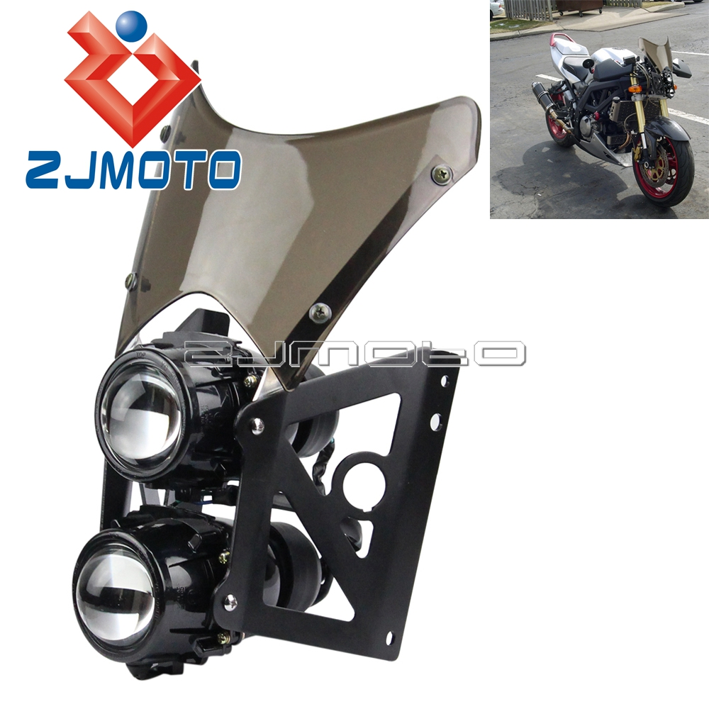 Motorcycle Wind Screen ABS Plastic Twin Headlight Black Bracket Motorcycle Streetfighter Projector Dual Sport Headlight image
