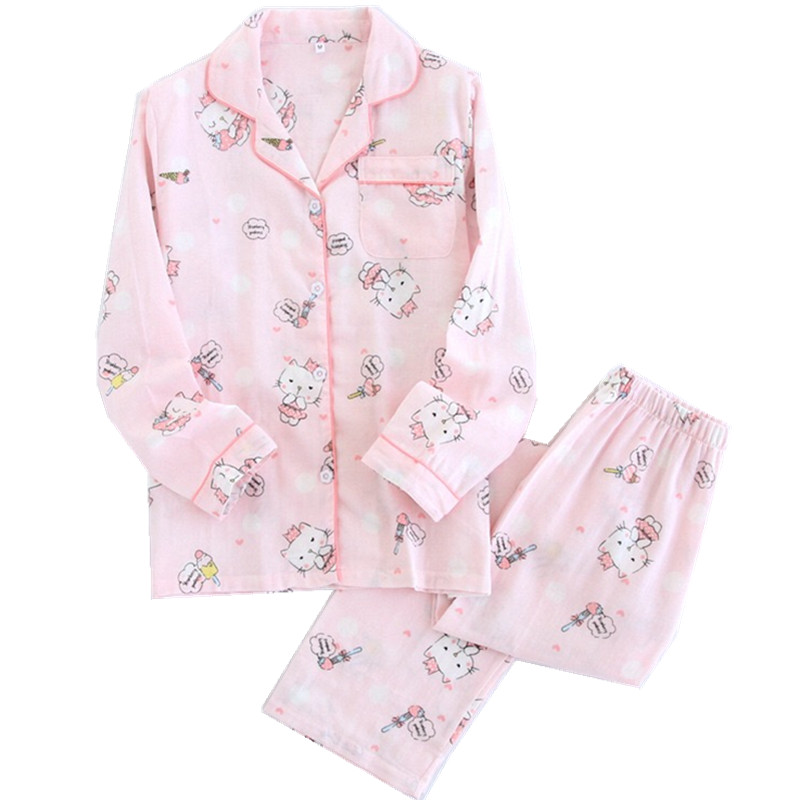Kawaii cat   pajamas   women autumn   pajama     set   quilted pyjamas 100% Gauze cotton long sleeve turn down collar cute cat sleepwear