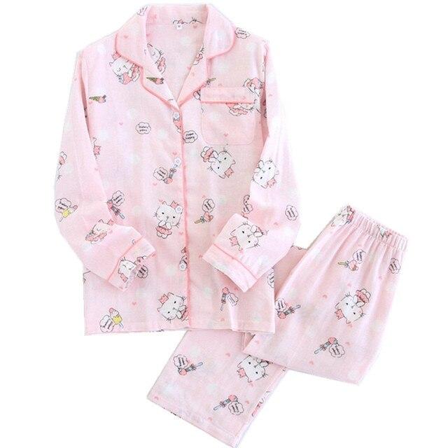 de82a1210 Kawaii cat pajamas women autumn pajama set quilted pyjamas 100 ...