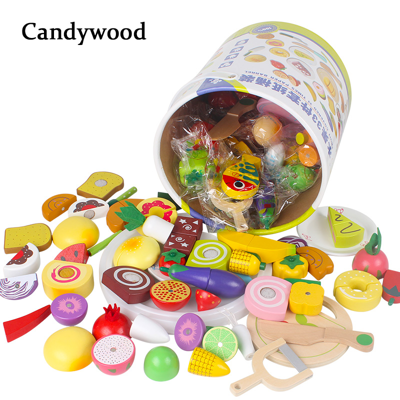 Candywood Mother garden Wooden Kitchen Toys Cutting Fruit Vegetable Dessert education food toys with box for Children kids gift ...