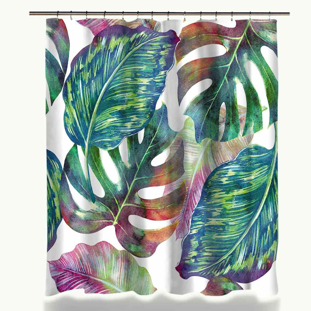 Creative Green Tropical Plant Printed Shower Curtain Set Waterproof Polyester Fabric Curtain and Anti-slip Bath Mat