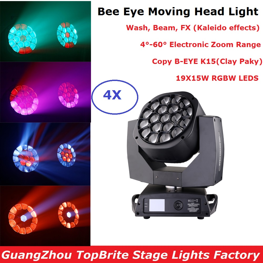 Plus Zoom Function 19X15W Bee Eye Moving Head Light RGBW 4IN1 LED Moving Head Beam Wash Light Dj Party Stage Lighting EffectPlus Zoom Function 19X15W Bee Eye Moving Head Light RGBW 4IN1 LED Moving Head Beam Wash Light Dj Party Stage Lighting Effect
