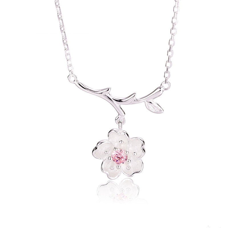 Fresh cherry blossom pendants Clavicle Necklace S925 standard silver Fashion simple Tree Pendant Christmas gift