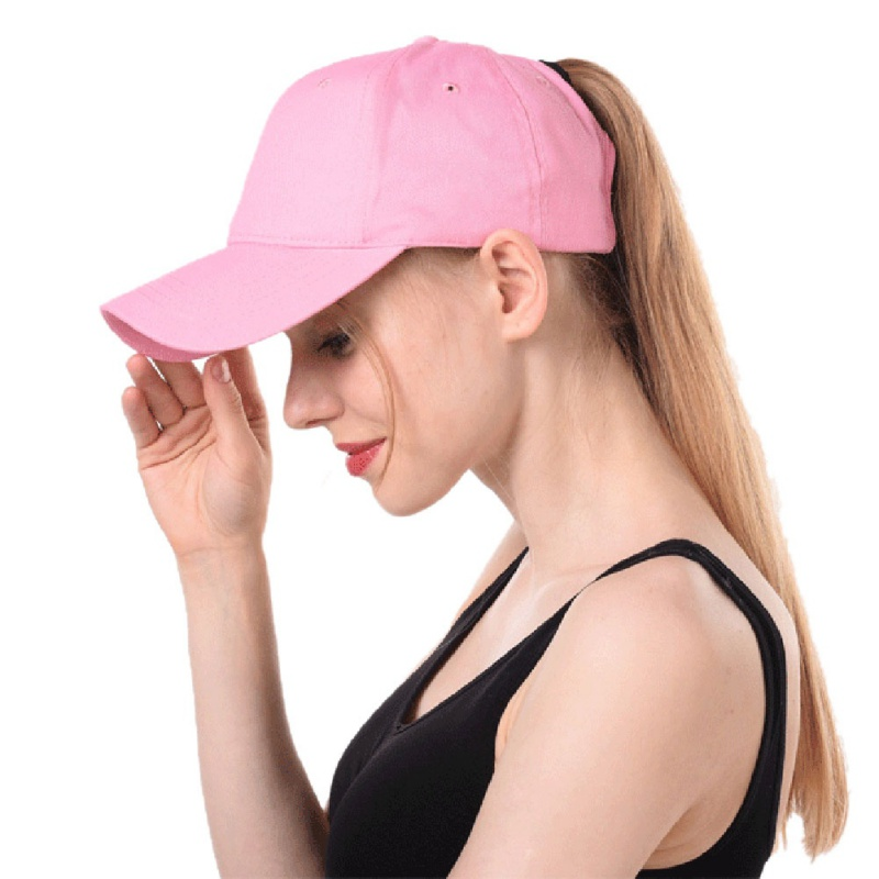 c823efcab30 Women s ponytail baseball cap solid color breathable sunshade sun hat after  opening Sports tennis cap