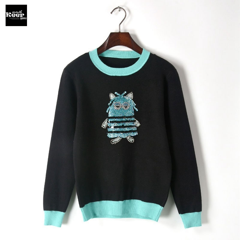 2018 New Knit Pullover Sweater Women Runway Designer Casual Owl Sequins Embroidery Autumn Winter Basic Knitwear Jumpers Tops