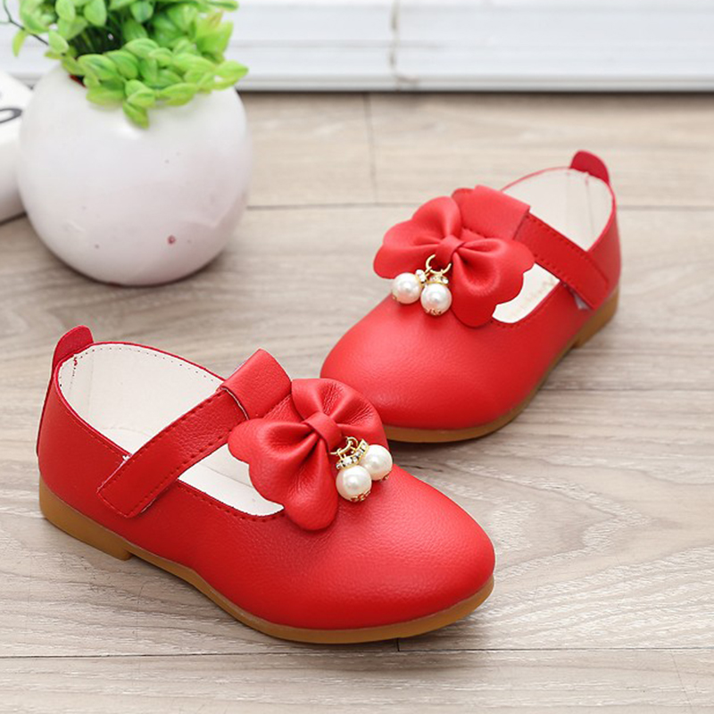 New Toddler Baby Little Girl Bowknot Pearl Princess Leather Shoes For Kids Girls White Red School Wedding And Party Shoes 25