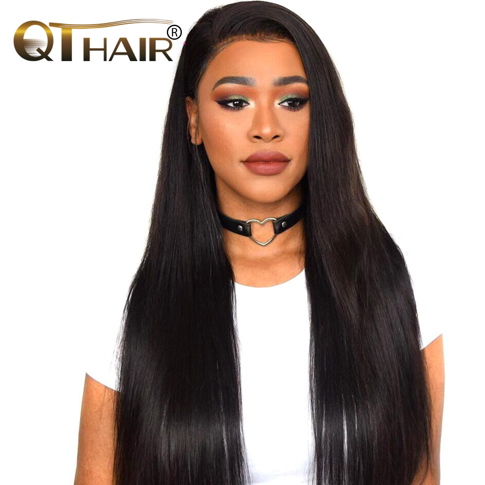 QThair Malaysian Straight Hair Natural Black Color Non-remy 100% Human Hair Weave Bundles Free Shipping