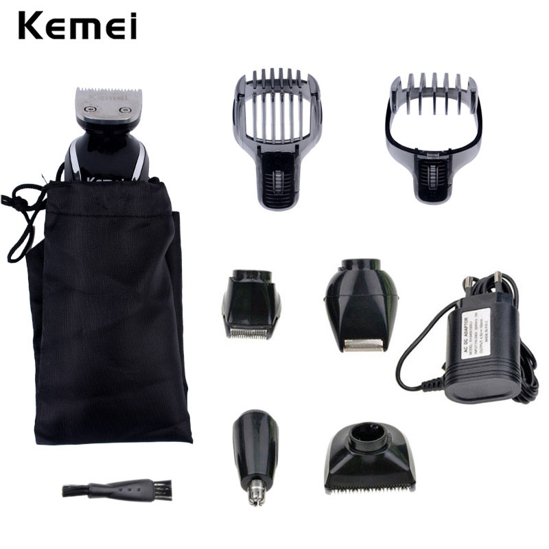Kemei 5 in 1 Waterproof Rechargeable Men's Hair Clipper Razor Nose Trimmer Electric Shaver Shaving Machine for Men Barbeador A45 kemei men shaving machine nose trimmer barbeador 3 in 1 washable rechargeable electric shaver 3d beard shaver razor 36022
