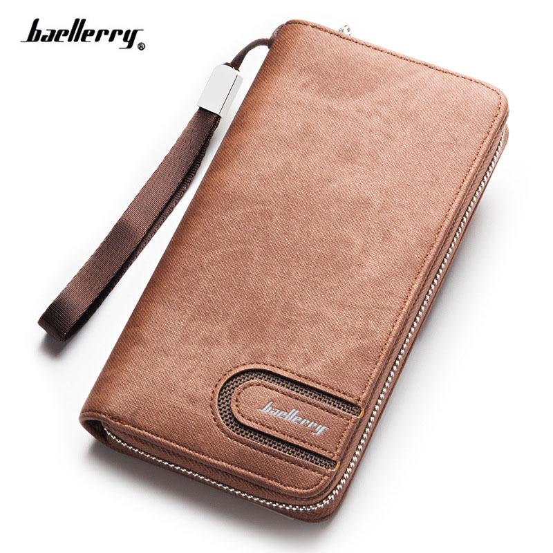 New Brand Baellerry Men's Canvas Wallet Zipper Long Clutch Phone Bag Fashion High Quality Purse Card Wallet  With Coin Pocket