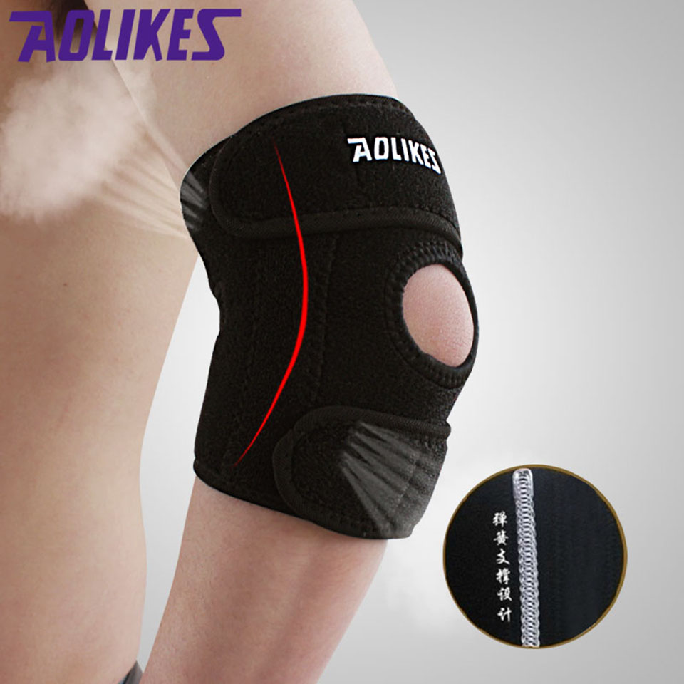 AOLIKES 1PCS Adjustable Elbow Pads Spring Sports Safety Protector Codera Ciclismo Brace Support For Basketball Gym