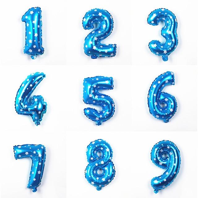 30cm Large Blue Aluminum Foil Number Balloon 1 2 3 4 5 6 7