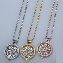 New rose gold stainless steel chain 35mm holder necklace pendant fit 33mm coin women decorative fashion crystal 2017 sliver