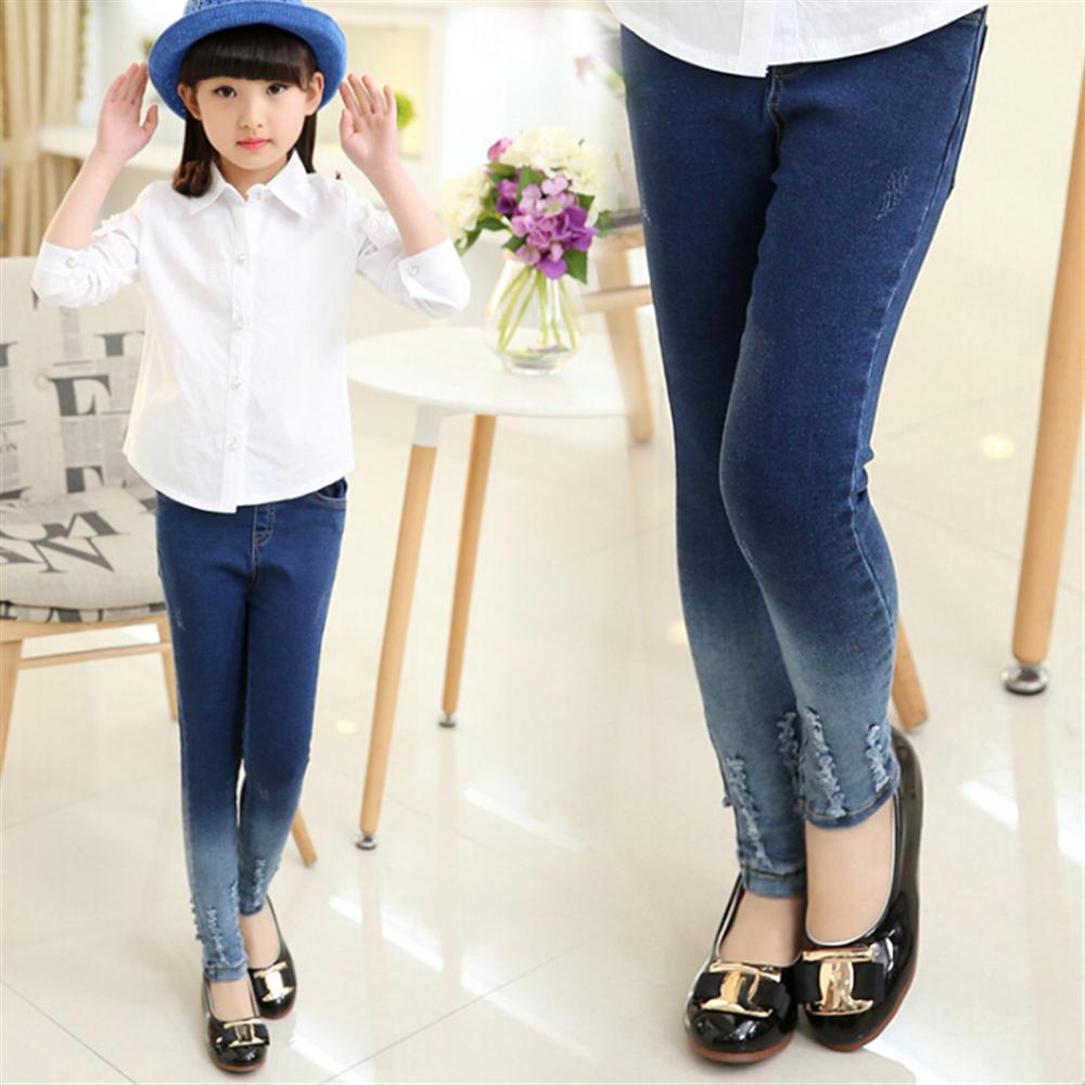 Girls Jeans 2018 New Fashion Gradient Kids Pants for Girl Slim Pencil Children Trousers Spring Summer 4 5 6 7 8 9 10 11 12 Year new fashion women slim jeans casual roses embroidery pencil pants female short trousers for ladies
