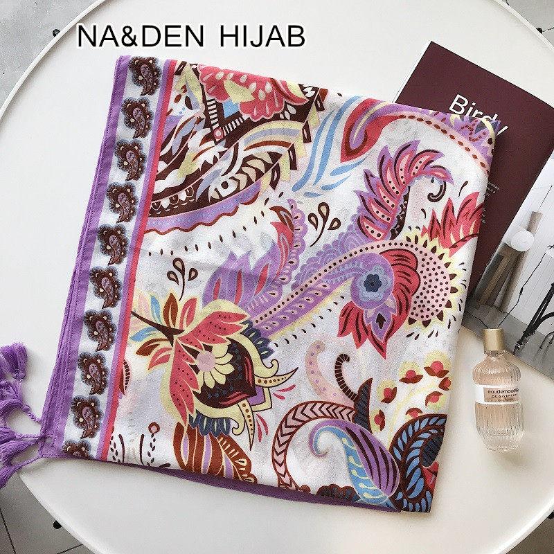 2019 Luxury Flowers Tassel hijab scarf shawl fashion foulard Muslim lace scarfs pashmina bandana scarves 10pcs