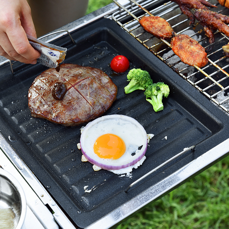 New Black Non-stick Pan Multi-function Griddle Plate Grill Pan Durable Frying Pans Kitchen Outdoor Barbecue Camping Cooking Tool
