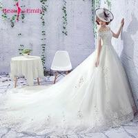 Dreamlike Vestido De Noiva Off shoulder Backless A Line Wedding Dresses 2018 Appliques Lace Royal Train Tulle Bride Gowns