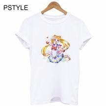 Women Fashion Print T-shirt Anime Short Sleeve Female Tee Shirt Summer Sailor Moon Slim Fit White Tshirt Basic Tops