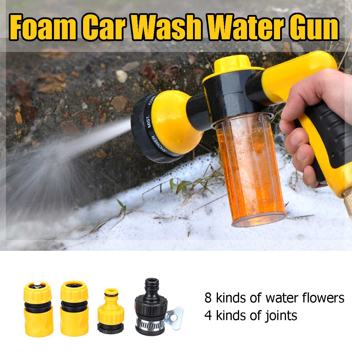 High Pressure Multifunction 8 In 1 Jet Spray G-un Soap Dispenser Hose Nozzle Car Wash Cleaning Tool Garden Watering