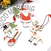 3PCS Creative Printed Christmas Wooden Pendants Ornaments Wood Crafts Kids Toys Decorations Tree