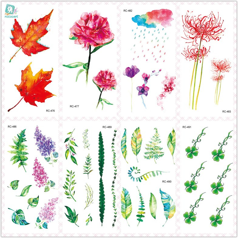 Rocooart Green Leaf Waterproof Temporary Tattoo Stickers Body Art Fake Tattoo Colorful Ink Flowers Taty For Woman Flash Tatuagem