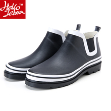 Hellozebra Rainboots men unisex summer europe fashion black ankle boots outdoor low nonslip waterproof quality rubber rain shoes