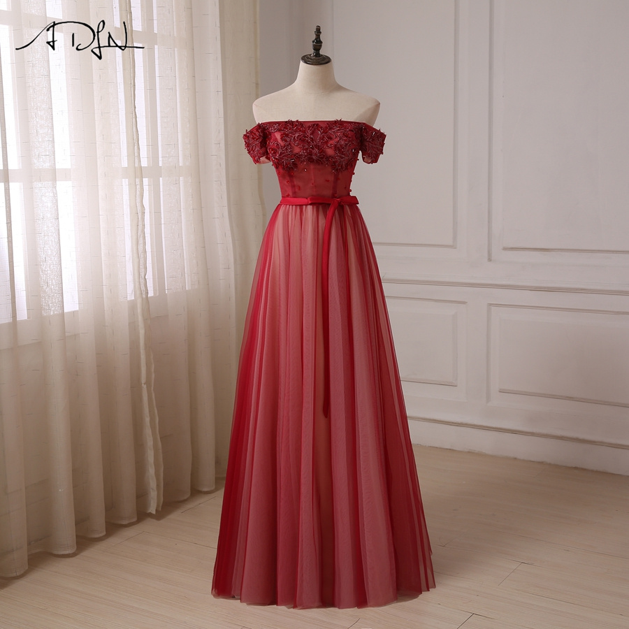 ADLN Off The Shoulder Burgundy   Prom     Dresses   A-line Floor Length Tulle Evening Party Gowns Boat Neck Robes De Soiree
