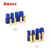 10pcs Amass EC3 3.5mm EC5 5.0mm Banana Plug High Current 100A With Sheath Temperature Sheathed Gold Bullet Plug 5pairs(China)