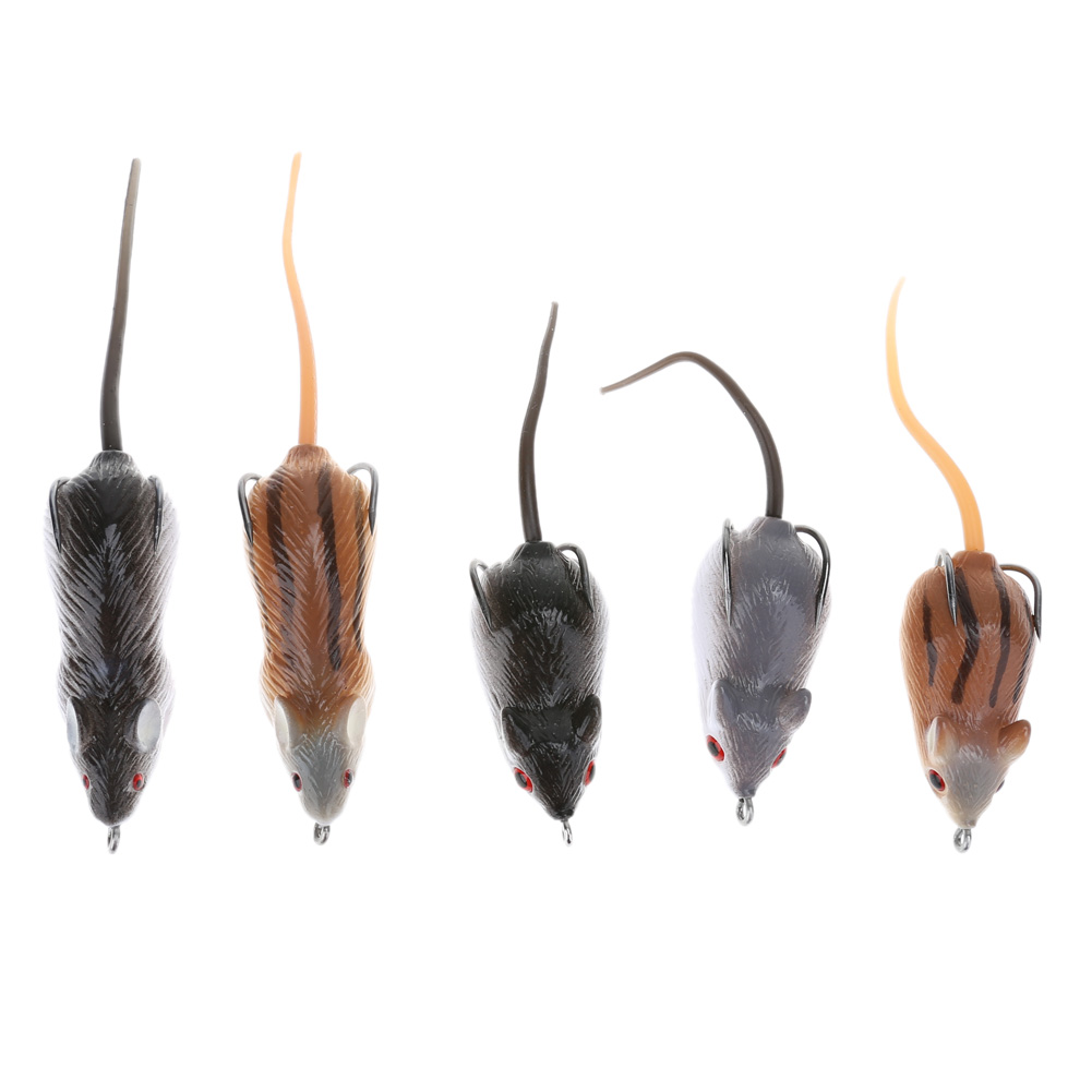 5pcs Soft Mice Shape Fishing Lure Bait Fishing Tackle Strong Simulation Mice Mouse Lure Soft Bait with Sharp Hook for Snakehead