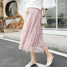Перо бахромой Плиссированные платье для беременных Летняя мода линии свободные юбки Одежда для беременных Для женщин Беременность Костюмы
