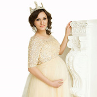 Yellow Pregnant Plus Size Evening Dress Sequin Robe Dubai Formal Dress Half Sleeve Maternity Arabic Prom