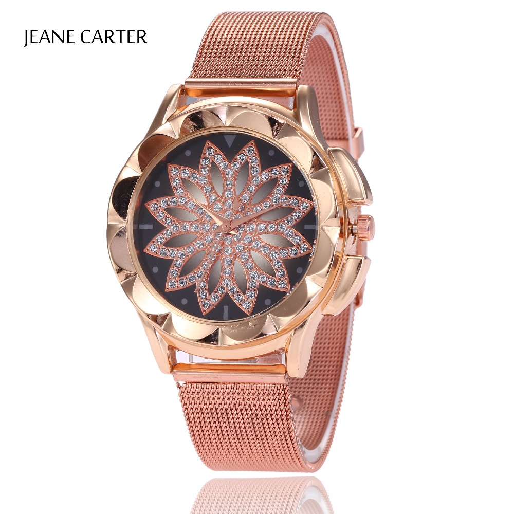 все цены на Relogio Feminino 2018 Top Brand Luxury Women Watch Rose Gold Rhinestone Romantic Crystal Quartz Watches Women Wrist Watch Female