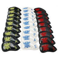 9pcs/lot Iron Headcover golf Clubs Head Covers set skull head cover 3colors to choose free shipping