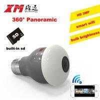 Cámara IP HD de 3MP con WiFi para el hogar, nueva cámara con visión panorámica de 360 grados, bombilla de luz, 1080P, cámaras VR 360, inalámbrica, microsd incorporado