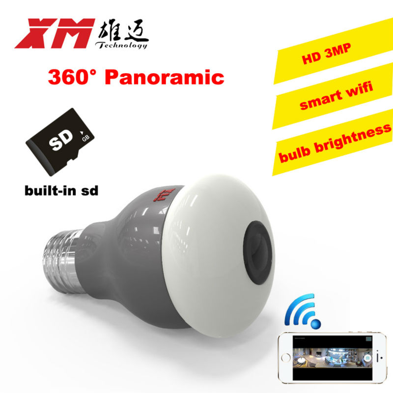 New HD 3MP WiFi IP Camera Panoramic View 360 degree Light Bulb Camera 1080P Smart Home VR 360 Cameras Wireless Built in Micro SD